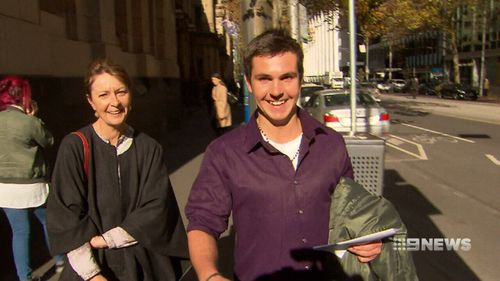 Zakary Norton was all smiles outside court today after being released on bail. Picture: 9NEWS