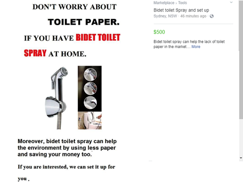"Some building and plumbing services have advertised bidet and toilet hose installation to overcome ""the lack of toilet paper on the market""."
