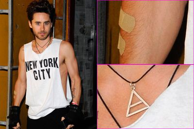 Jared Leto is a hipster because he always looks drunk. Oh, and he wears the compulsory male hipster necklace and has bandaids, which means he's fallen off his hipster bike or skateboard. Word.