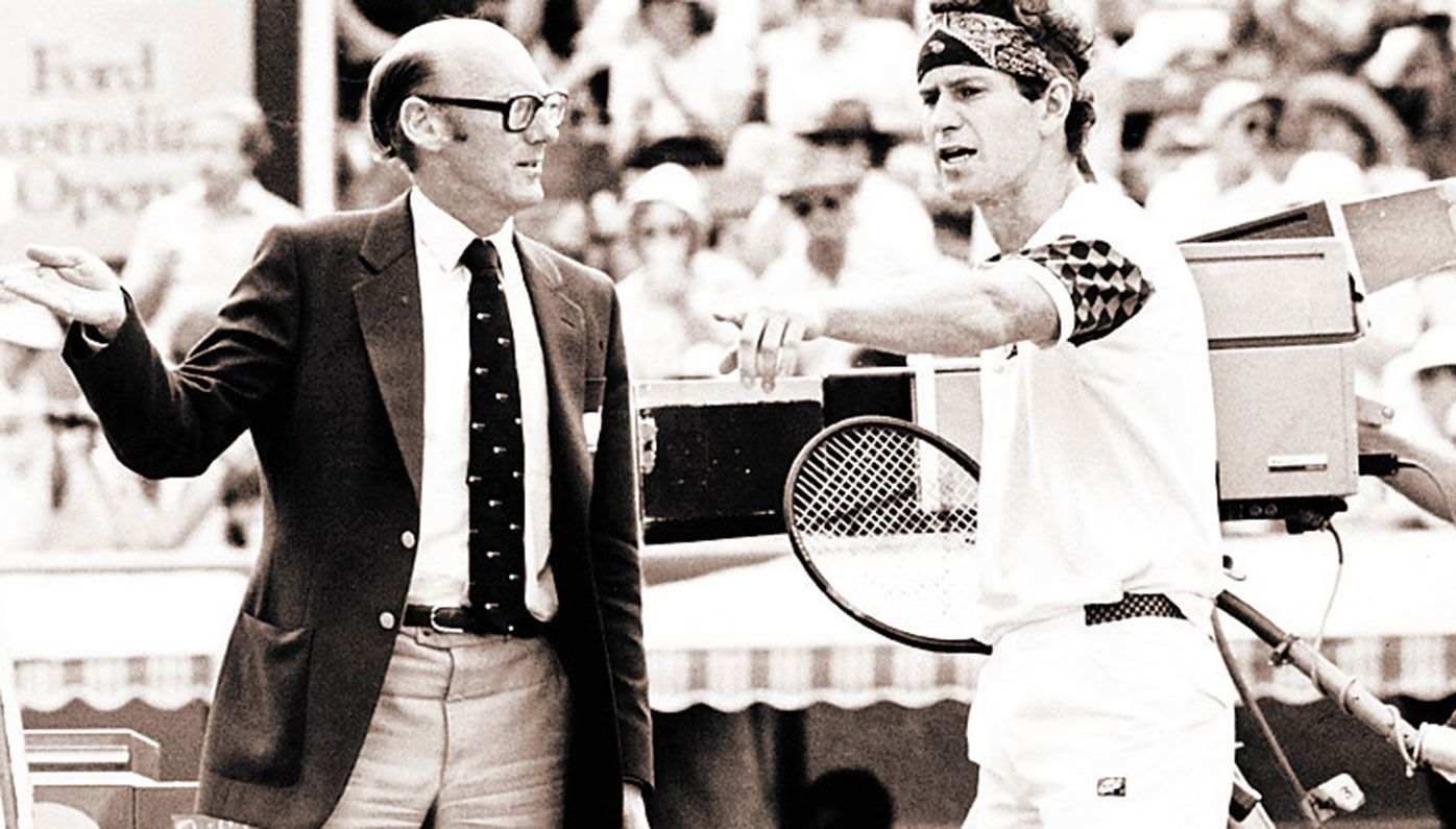 John McEnroe argues with umpire Peter Bellenger at the 1985 Australian Open.