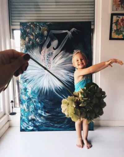 Teeny, tiny ballerina complete with hydrangea tutu.