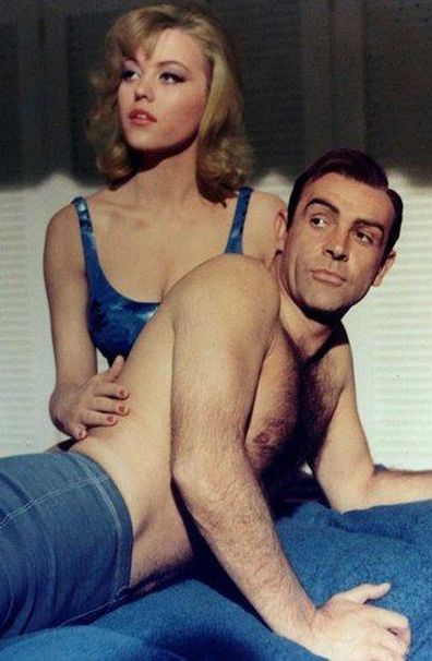 Margaret Nolan and Sean Connery in the 1964 movie Goldfinger.
