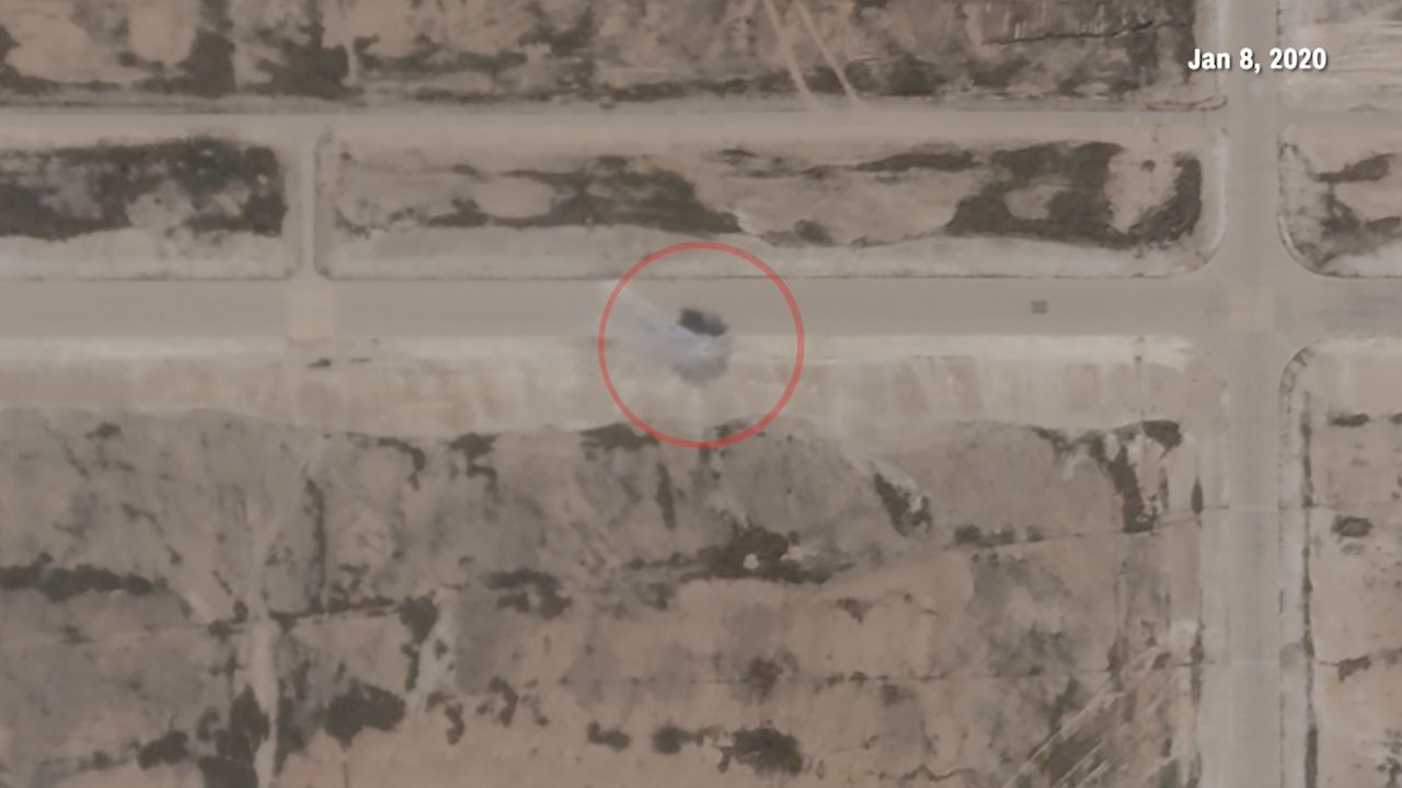 Satellite images appear to show damage at the al-Assad airbase.