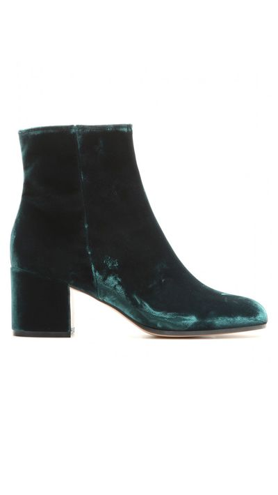 "<a href=""http://www.mytheresa.com/en-au/velvet-ankle-boots-431310.html"" target=""_blank"">Boots, $959, Gianvito Rossi at mytheresa.com</a>"