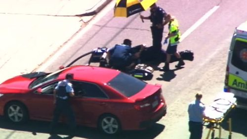 The officer was treated for minor injuries to his shoulder. (Supplied)