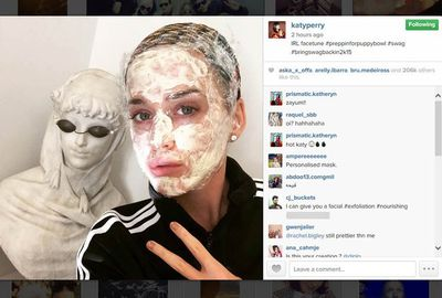 Nice facemask, Katy Perry. Thanks for sharing?!