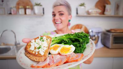 Jane de Graaff's garlic butter broccolini with ham and eggs