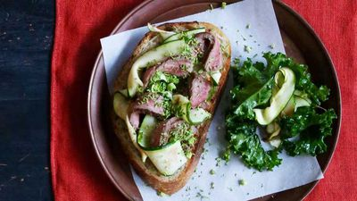 "Recipe: <a href=""http://kitchen.nine.com.au/2016/09/19/13/23/open-steak-sandwich-with-broccoli-tapenade-and-zucchini"" target=""_top"">Open steak sandwich with broccoli tapenade and zucchini</a>"