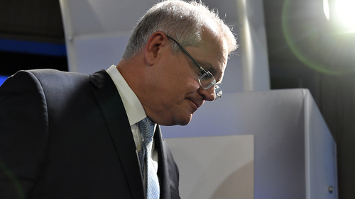 Prime Minister Scott Morrison leaves after his address at the National Press Club in Canberra, Tuesday, May 26, 2020. (AAP Image/Mick Tsikas)