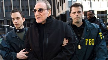 New York mobster Vinny Asaro with FBI agents in 2014. (AP).