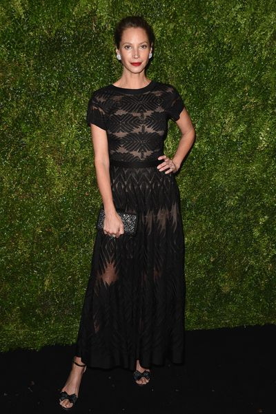 Christy Turlington on the red carpet for the 2016 Museum Of Modern Art Film Benefit - A Tribute To Tom Hanks in New York, healthy living advocate Christy Turlington, 48, continues to impress in Chanel. <br />
