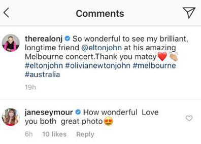 Olivia Newton-John, Elton John, Melbourne concert, reunion, backstage, Jane Seymour, comment