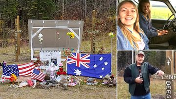 Lucas Fowler, 23, and his US girlfriend Chynna Deese, 24, were found dead on the side of the remote Alaska Highway in Canada's rugged northern British Columbia. Trucker John John Van Vyfeyken has helped build a memorial for the murdered pair.