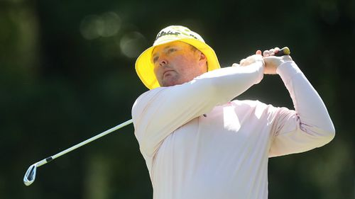 Jarrod Lyle in that famed yellow bucket hat at the 2016 Australian PGA Championship.