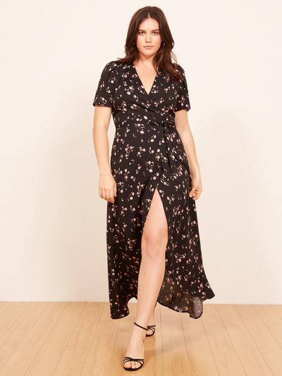 "<a href=""https://www.thereformation.com/products/foster-dress?color=Ensenada&amp;via=Z2lkOi8vcmVmb3JtYXRpb24td2VibGluYy9Xb3JrYXJlYTo6Q2F0YWxvZzo6Q2F0ZWdvcnkvNWFiNTRlYmI3Y2FmNGExNDVkNmUyMjAy"" target=""_blank"" draggable=""false"">Foster dress</a>, $281.45"