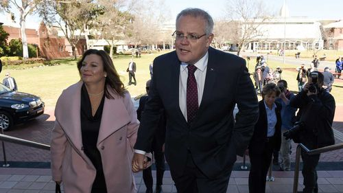 Prime Minister Scott Morrison and wife Jenny arrive for the State Funeral of former deputy prime minister and national party leader Tim Fischer.