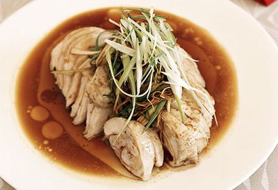 White-cooked chicken with ginger