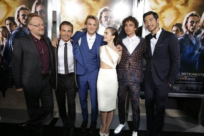 Jared Harris, Kevin Zegers, Jamie Campbell Bower, Lily Collins, Godfrey Gao and Robert Sheehan.<br/>(Image: SPE, Inc./ Eric Charbonneau © 2013 Le Studio. All Rights Reserved)