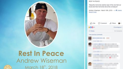 The public tribute Steven Wiseman's resort posted following Andrew Wiseman's death. (Facebook)