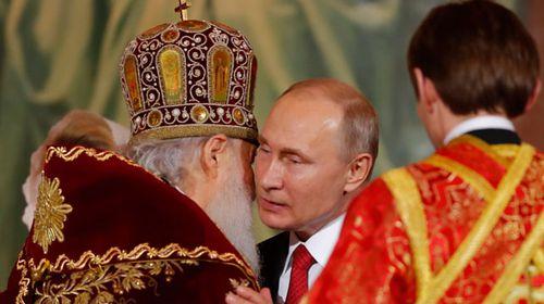 Russian President Vladimir Putin celebrates Easter in Moscow. (AP).