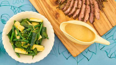 """<a href=""""http://kitchen.nine.com.au/2017/02/07/15/50/pohs-zucchini-green-bean-and-mint-salad"""" target=""""_top"""">Poh's zucchini, green bean and mint salad</a><br> <br> <a href=""""http://kitchen.nine.com.au/2017/02/07/16/00/tv-chef-pohs-ultimate-time-saving-tip-for-a-lamb-roast"""" target=""""_top"""">RELATED: TV chef's genius time-saving lamb roast tip</a>"""