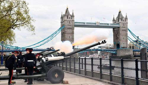 Gun salutes were heard across London the day after the new prince was born. (PA/AAP)