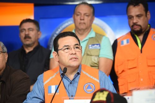 President Jimmy Morales gives a press conference in Guatemala. Picture: AAP
