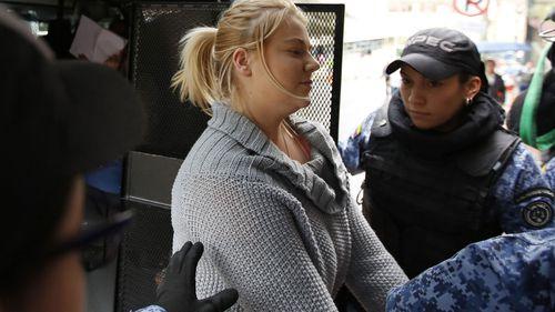Sainsbury in Bogota after her arrest. (AAP)