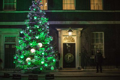 British Prime Minister David Cameron's Christmas tree is lit at 10 Downing Street in London. (Dan Kitwood/Getty)