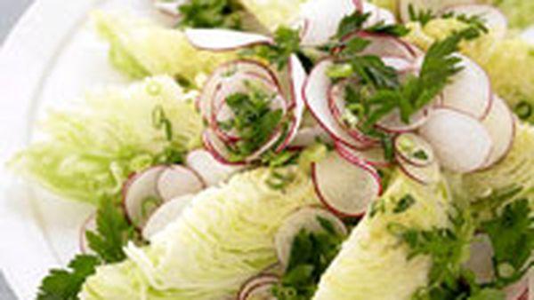 Iceberg lettuce and radish salad