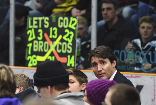 Canadian Prime Minister Justin Trudeau attends a vigil at the Elgar Petersen Arena.