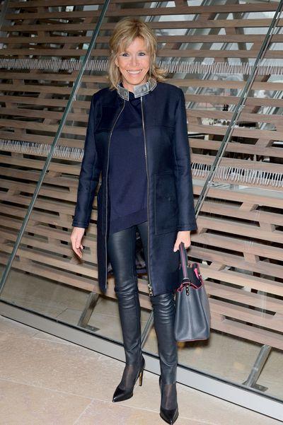 Brigitte Macron in Louis Vuitton at the Louis VuittonFall/Winter 2016/2017 show for Paris Fashion Week in March, 2016