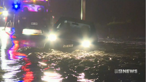 Roads became flooded as a month's worth of rain fell in just a few hours.