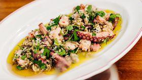 Octopus, barley, garlic and chilli salad recipe