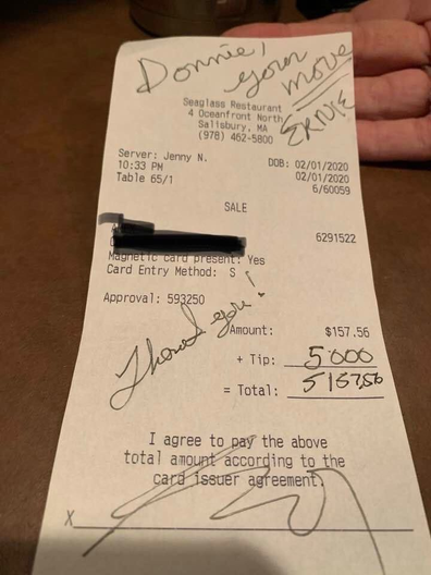 Receipt for $5000 tip at Seaglass restaurant