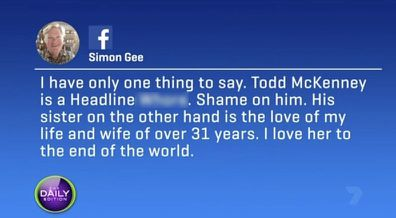 Todd McKenney's sister and her husband fire back after he