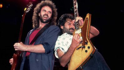 American rock band .38 Special performs in 1986. Pictured are, from left, Larry Junstrom and Don Barnes.