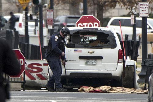 The Secret Service said the vehicle did not breach the security barrier of the White House. (AAP)