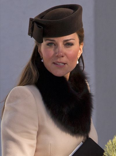 Catherine, Duchess of Cambridge attends the wedding of Laura Bechtolsheimer and Mark Tomlinson at the Protestant Church on March 2, 2013 in Arosa, Switzerland