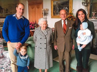 Prince William and Kate Middleton with their two eldest children, plus the Queen and Prince Philip