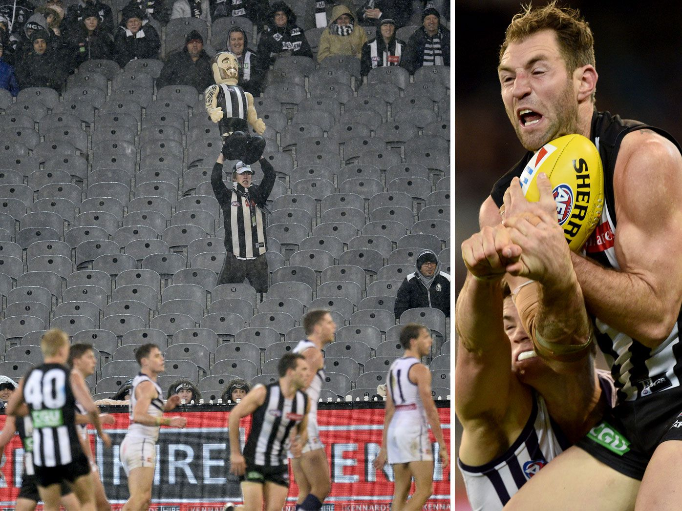 Magpies score AFL win in awful weather