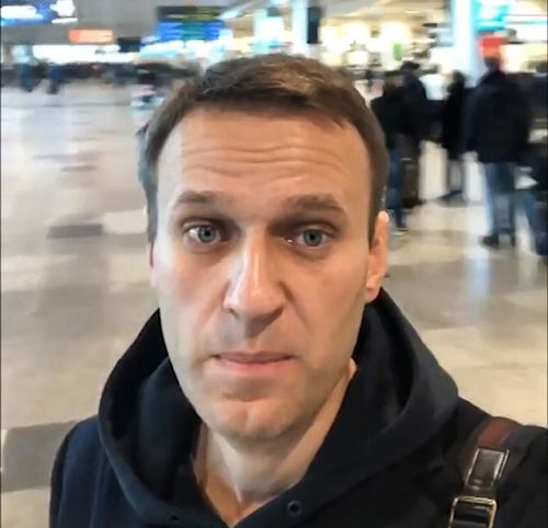 In this selfie photo released by Anti-corruption Foundation Press Service, Russian anti-corruption crusader Alexei Navalny at Domodedovo international airport outside Moscow, Russia, Tuesday, Nov. 13, 2018