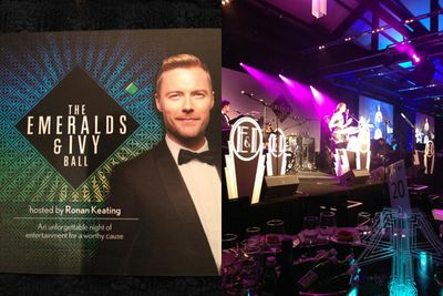 """Getting ready for #TheEmeralds&IvyBall hosted by @ronanofficial #CancerCouncilAustralia #PackTissues!"" Dannii tweeted before the event.<br/><br/>""#EmmaBirdsall #TheEmerald&IvyBall @ronanofficial,"" Dannii tweeted during <i>Voice</i> graduate Emma Birdsall's performance.<br/><br/>Images: Dannii Minogue/Instagram"
