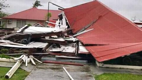Tonga's Parliament House flattened by category four cyclone Gita (TVNZ).