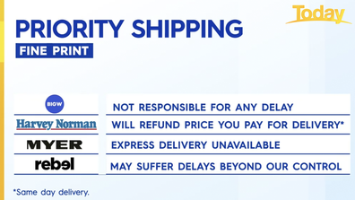 Some of the major retailers offering priority shipping.