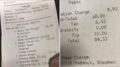 Receipts from Paddock's room suggest he may have had a guest in the days before the massacre. (Supplied)