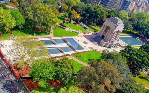 An artist impression of the water features at the Anzac Memorial in Sydney's Hyde Park.