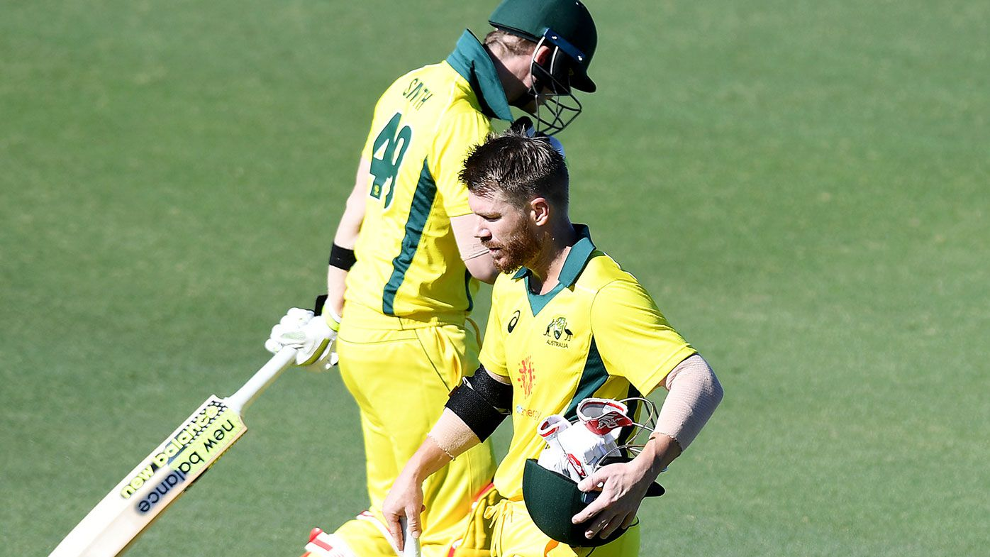 Steve Smith and David Warner cross paths during a World Cup warm-up match in Brisbane.