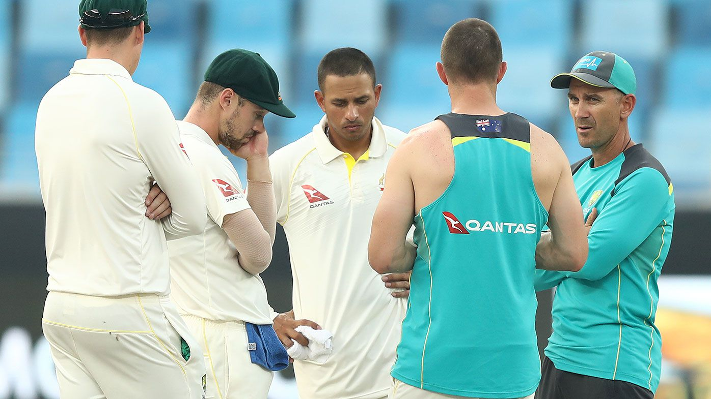 Coach Justin Langer (far right) chats with Matt Renshaw, Travis Head, Usman Khawaja and Shaun Marsh.