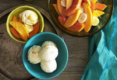 Mango yoghurt sorbet